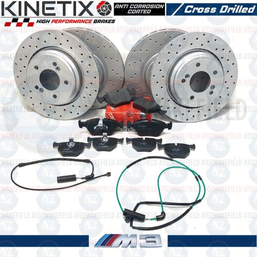 FOR BMW M3 E46 FRONT REAR DRILLED PERFORMANCE BRAKE DISCS TRW PADS WIRE SENSORS