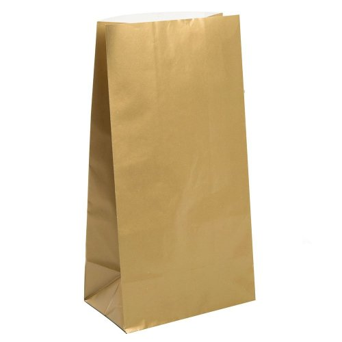 Unique Party 59019 - Metallic Gold Paper Party Bags, Pack of 10