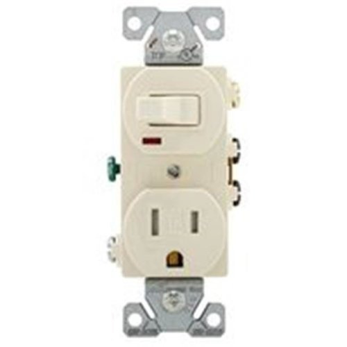 Cooper 3114436 Combination Toggle Switch & Receptacle, 3 Poles - Light Almond