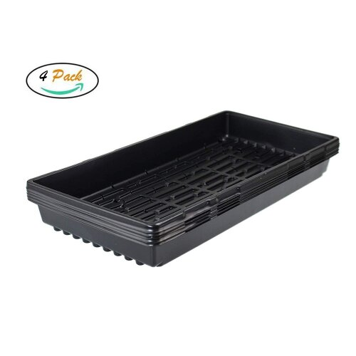 "Litgrow 4 Pack of Durable Black Plastic Growing Trays 21"" x 11"" x 2"" - Planting Seedlings"