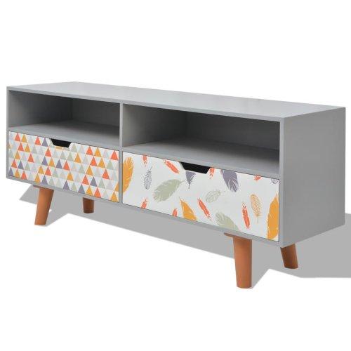 vidaXL TV Cabinet MDF 120x30x50cm Grey Stand Board Media Entertainment Centre