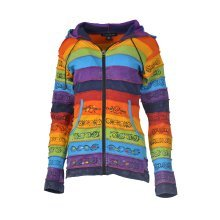 Ladies stonewashed cotton cardigan with colorful patches and hand painted design.