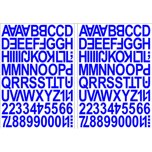 (Blue) Alphabet Letters & Numbers Stickers Label Peel Off Sticky 2.5cm High Mixed