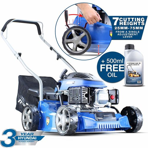 Hyundai 79cc 4-stroke Petrol Push Rotary Lawn Mower 40cm cutting width Bundled With 1/2 Ltr Oil HYM400P