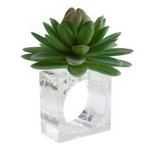Saro Lifestyle NR726.G Succulent Design Napkin Ring Holders, Green - Set of 4