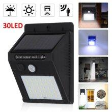30 LED Solar Powered PIR Motion Sensor Wall Security Lights Garden Out