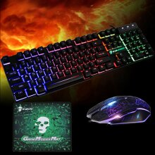Rainbow T6 Backlight USB Wired Gaming Keyboard and Mouse Set For PC Laptop UK