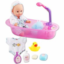 """deAO 13"""" Bath Time Baby Doll Play Set with Working Shower Spray and Accessories for Kids"""