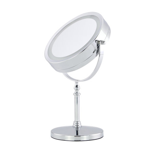 """Double Sided LED Ring Light Pedestal Mirror - 7"""""""