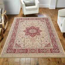 Luxury Non Slip & Washable Traditional Rugs in Cream