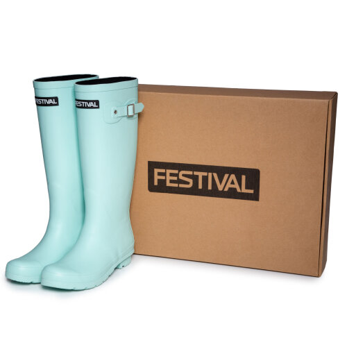 (3 (Adults')) Festival Teal Womens Lined Wellington Boot