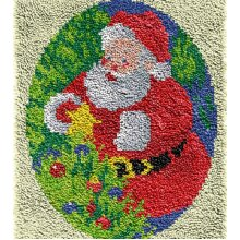 Christmas Santa Claus Rug Latch Hooking Kit (64x48cm blank canvas)
