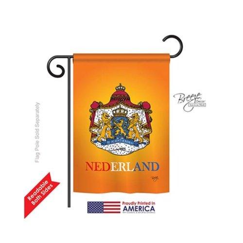 Breeze Decor 58094 Netherlands & Dutch 2-Sided Impression Garden Flag - 13 x 18.5 in.