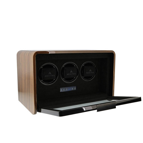 3 Watch Winder Light Walnut Finish the Premier Collection by Aevitas
