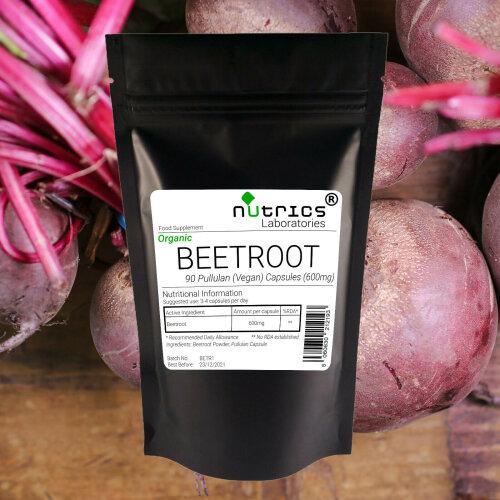 Nutrics® ORGANIC BEETROOT 600mg Vegan Capsules