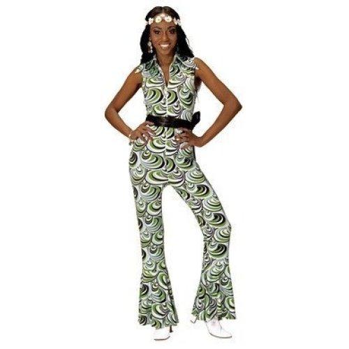 Groovy 70's Lady Jumpsuit Waves Large For Fancy Dress Costume - 70s Disco Diva -  70s disco diva vintage groovy jumpsuit ladies fancy dress costume sl