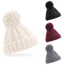 Beechfield Infant Junior Cable Knit Knitted Melange Pom Pom Bobble Beanie Hat