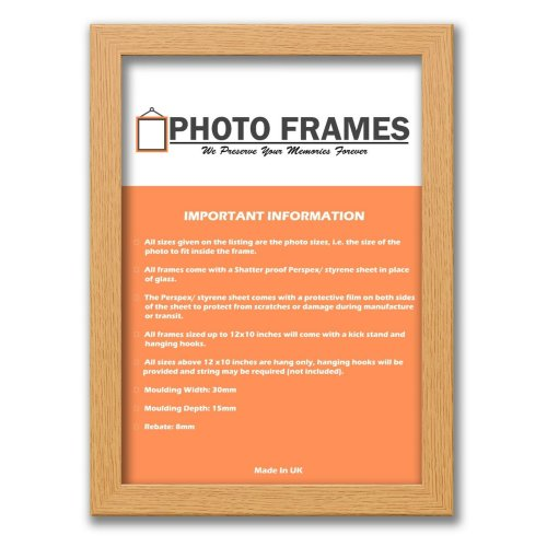 (Oak, A5- 210x148mm) Picture Photo Frames Flat Wooden Effect Photo Frames