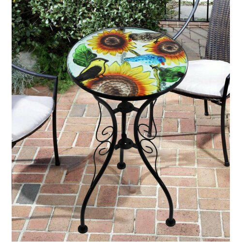 (Sunflower) Iron/Glass Round Side Mosaic Garden Table on OnBuy on Outdoor Living Iron Mosaic id=83557