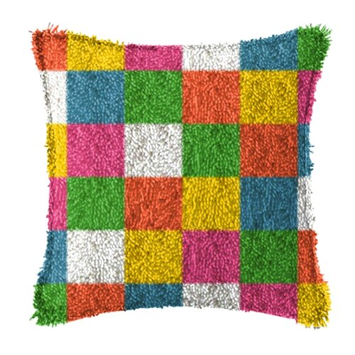 """Latch Hook Complete Cushion Cover Kit """"Squares""""43x43cm"""