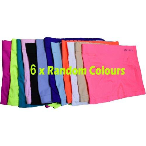(UK 8 - 10 S/M, Random Colours x6) Womens Knickers Shorts Stretch Yoga Boxers Sports