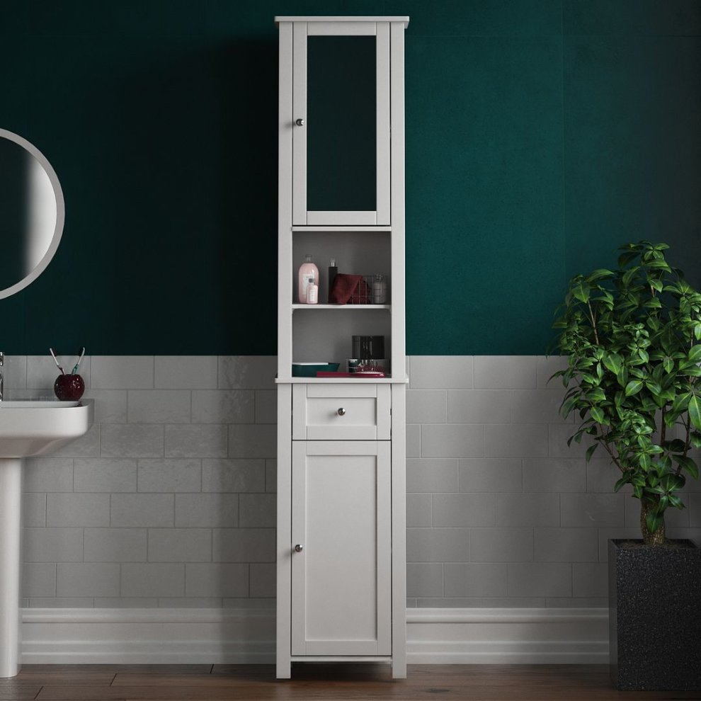 Priano 2 Door Tall Cabinet With Mirror Bathroom Cupboard Storage White On Onbuy