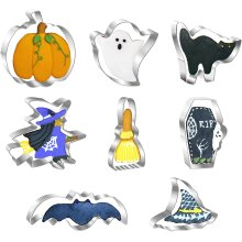 8 Pieces Halloween Cookie Cutters Set, Stainless Steel Biscuit Cutters
