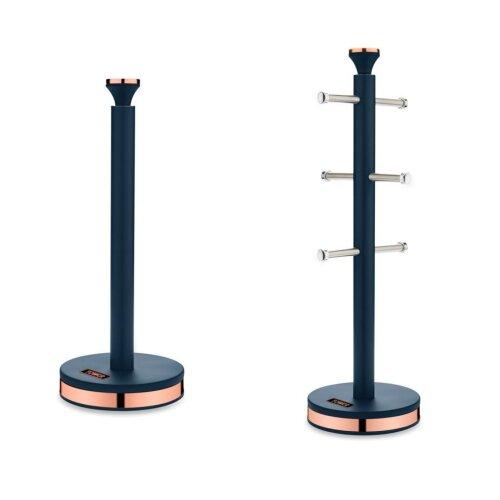 Tower Stylish Cavaletto Blue & Rose Gold Mug Tree & Kitchen Roll Towel Pole Set