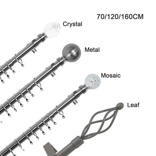 Extendable Metal Curtain Pole Chrome & Final Rings