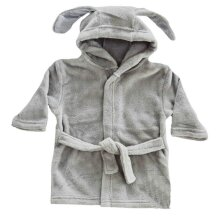 Baby Bunny Ears Dressing Gown - Soft Touch Hooded Robe, 6-24 Months, Blue Pink White Grey