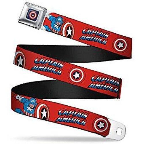 Seatbelt Belt - Marvel - Captain America V.2 Adj 24-38' Mesh New cab-wca001
