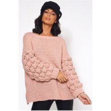 Nude Pink Chunky Knit Oversized Jumper