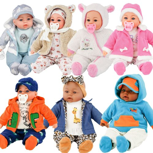 """The Magic Toy Shop 18"""" Lifelike Large Soft Bodied Baby Doll Boy Toy With Grey Clothes Dummy & Sound"""