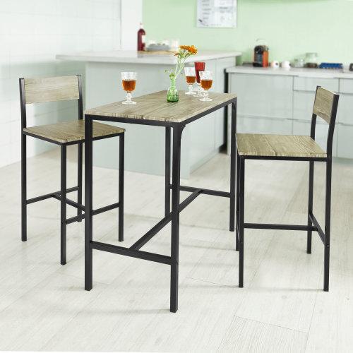 Sobuy Ogt03 1 Bar Table And 2 Stools Kitchen Breakfast Bar Set Dining Set On Onbuy