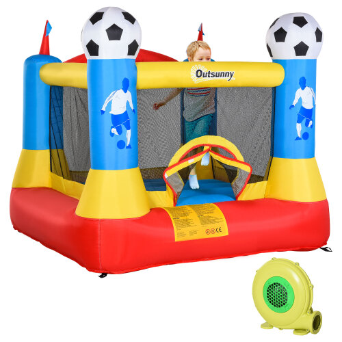 Outsunny Kids Football Bouncy Castle House w/ Net Outdoor Trampoline 3-12 Yrs