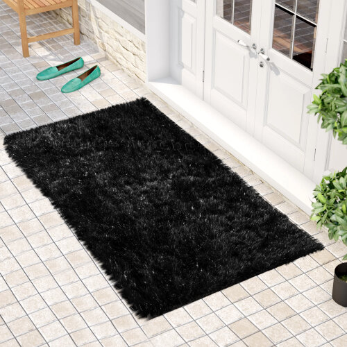 "(60 x 110 cm-(2'x3'7""), Natty Black ) Non Slip Shaggy Thick Pile Glitter Door Floor Mat Indoor Outdoor"