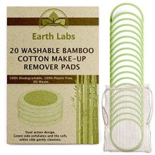 Earth Labs Reusable Cotton Pads - 20 Two Sided Eco-Friendly Bamboo Cotton Wool Pads with Laundry Bag   Face Cleaner Wipes