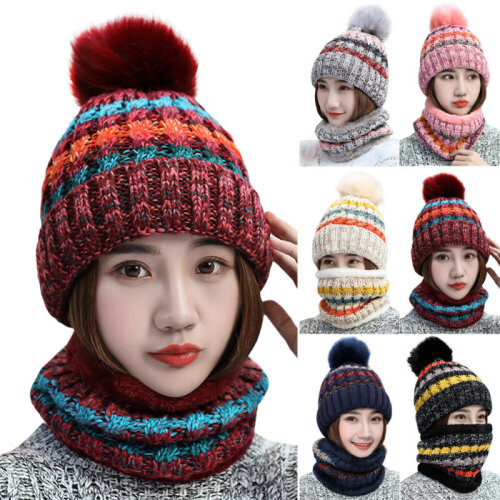 2Pcs/set Winter Women Warmer Wooly Thick Knit Hat And Scarf Set knitted Woollen