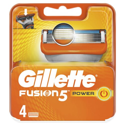 Gillette Fusion Power Mens Razor Blade Replacement Refill Cartridges - 4 Pack
