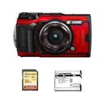 OLYMPUS Tough TG-6 Red + 32GB SD card + OLYMPUS L1-92B Battery