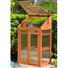 BPIL NATURAL WOODEN GREENHOUSE POLY-CARBONATED TRANSPARENT GLAZING 4.0MM THICKNESS DIMENSION: H120W69D51CM