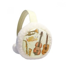 Music Guitar Instruments Watercolor Pattern Winter Ear Warmer Cable Knit Furry Fleece Earmuff Outdoor
