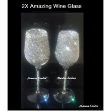 SET OF 2 Stunning Sparkly Crushed Diamond Silver Canister WINE Glass