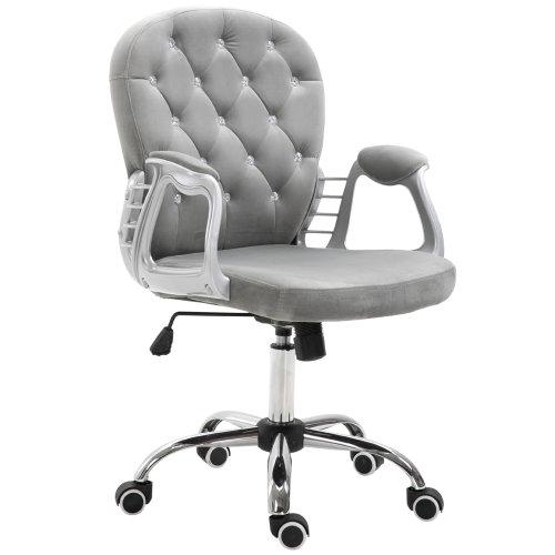 Vinsetto Office Chair Velour Diamante Tufted Padded Ergonomic 360 Swivel Grey