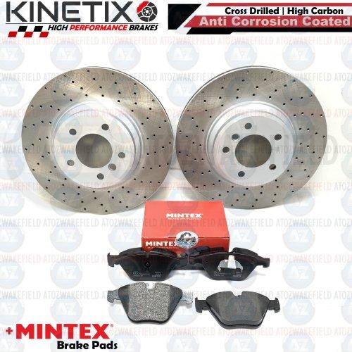 FOR BMW 335i E93 FRONT DRILLED KINETIX PERFORMANCE BRAKE DISCS MINTEX PADS 348mm