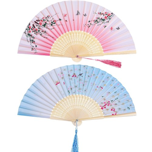 2 Pieces Folding Fans Handheld Fans Bamboo Fans with Tassel Women's Hollowed Bamboo Hand Holding Fans for Wall Decoration, Gifts (Pink Peach...