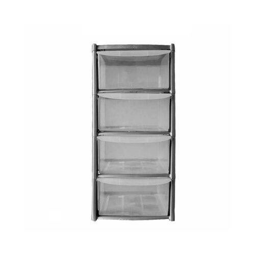 40cm 4 Tier Grey Plastic Storage Drawers