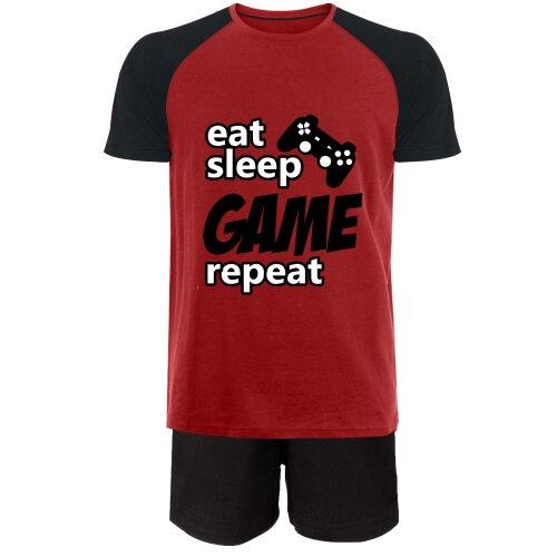(6-7 Years) Gaming Short Pyjamas Eat Sleep Game Repeat