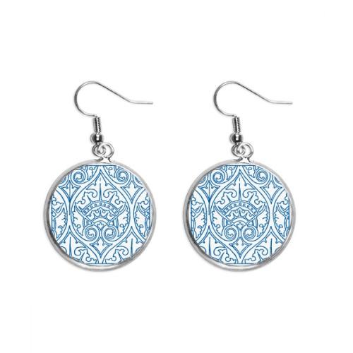 Talavera Decorative Ilustration Pattern Ear Dangle Silver Drop Earring Jewelry Woman