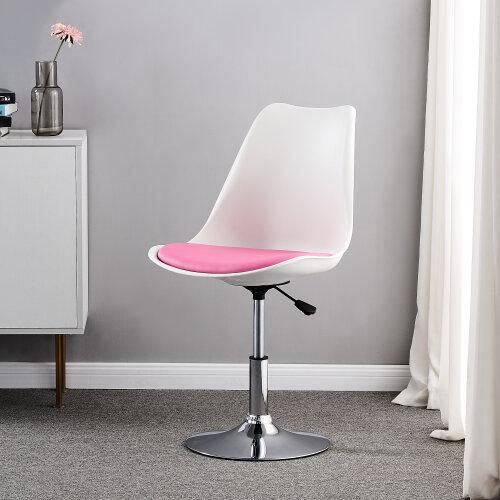 Adjustable Cushioned Chair Swivel Stool Desk Office Bedroom Dining Vanity Pink